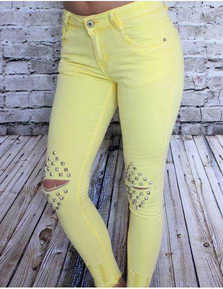 """Jeans jaune taille haute """"Crush"""""""