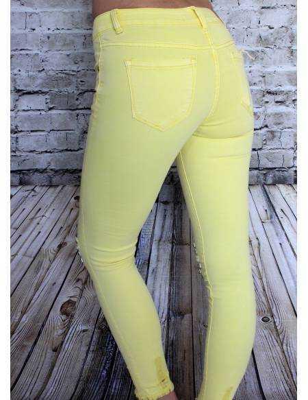Jeans jaune taille haute
