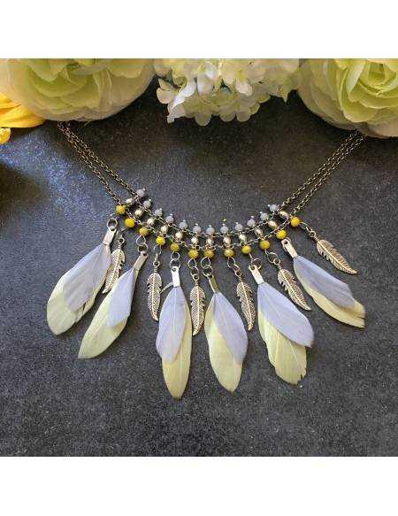 Mon collier plumes jaune et grises