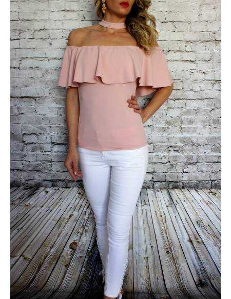 "Top rose tendre ""Col volant et choker"""