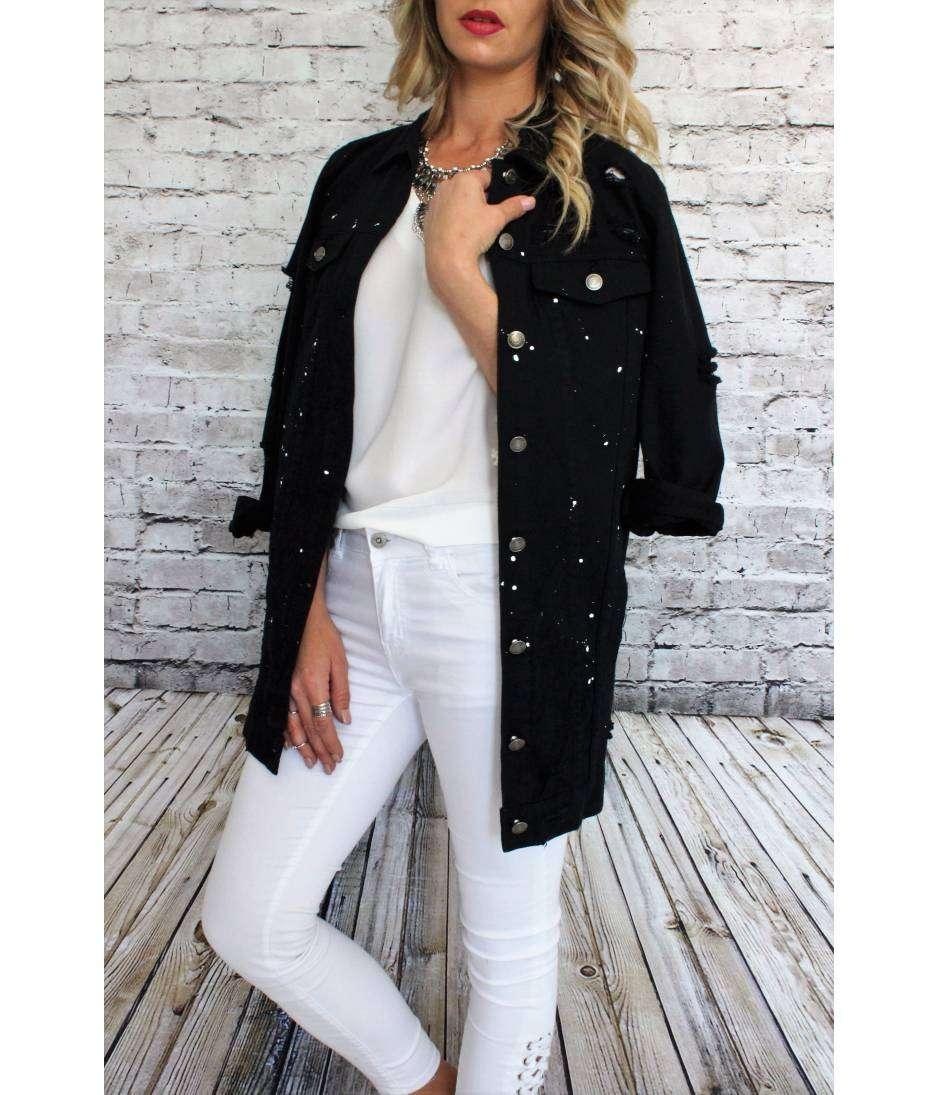 """Très Veste en jeans boyfriend """"Noire et tachée"""" - My Look Féminin, Un  BT19"""