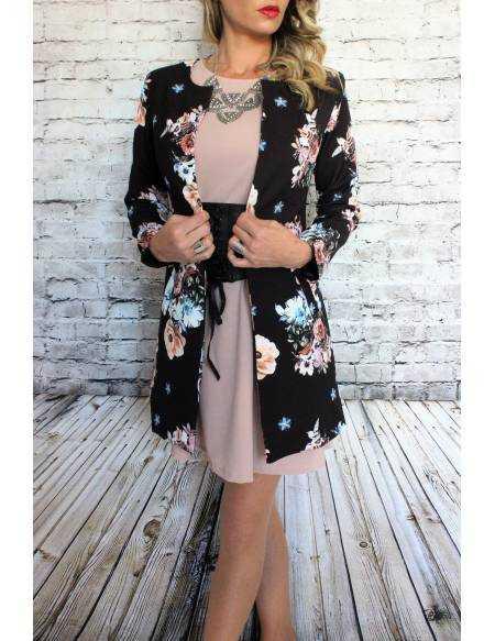 "Manteau léger noir ""jolies fleurs"""