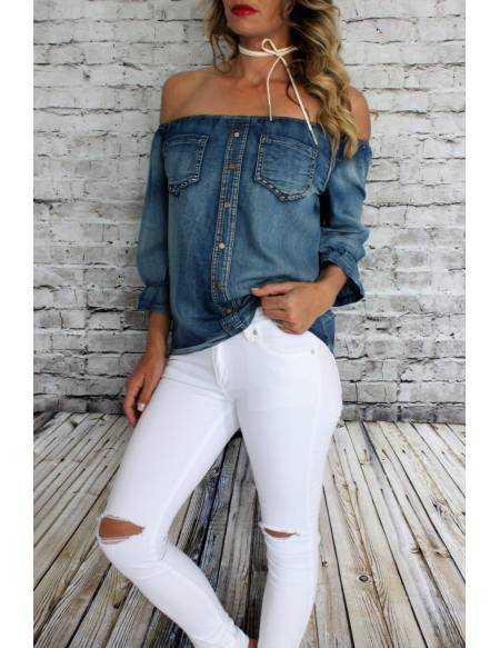 """Ma jolie blouse en jeans """"porté épaules"""""""