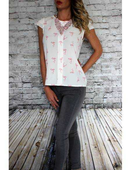 "Blouse blanche ""Flamands rose"""