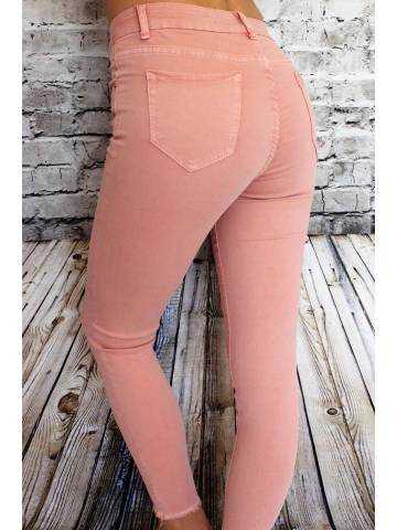 Pantalon rose pêche taille haute