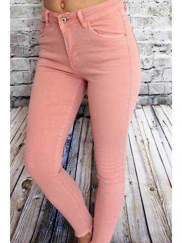 """Pantalon rose pêche taille haute """"genou déchirés"""""""