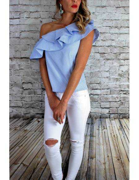 """Blouse fines rayures """"One shoulder"""" new"""