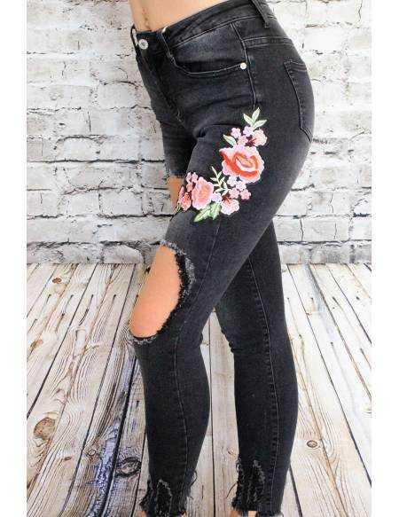 Mon jeans noir délavé Brodé