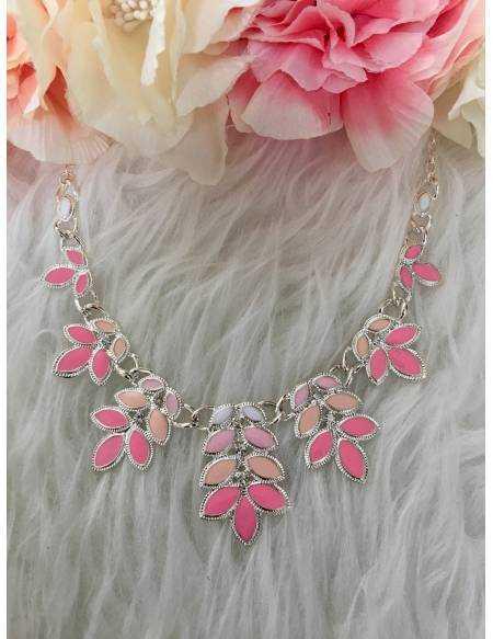 "Mon collier fin ""rose et fushia"""