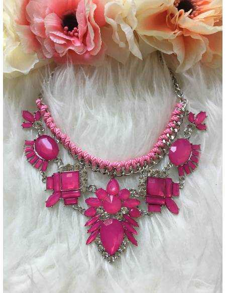 "Mon collier rose fushia ""so glam"""