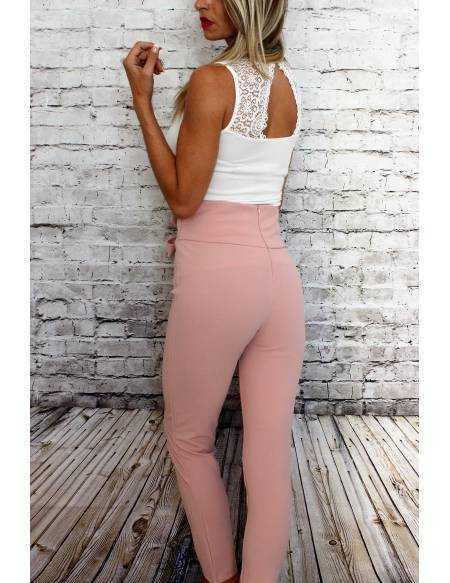 Pantalon rose pâle taille haute
