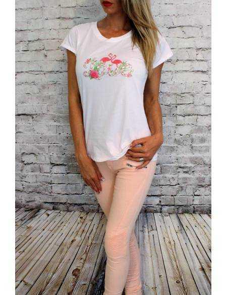 "Tee-shirt blanc ""flamand rose"""