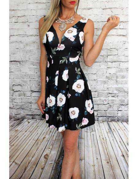 "Ma petite robe noire princesse  imprimé ""roses rose"""