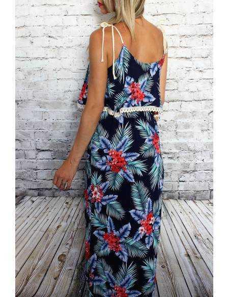 Robe longue bleu hawai