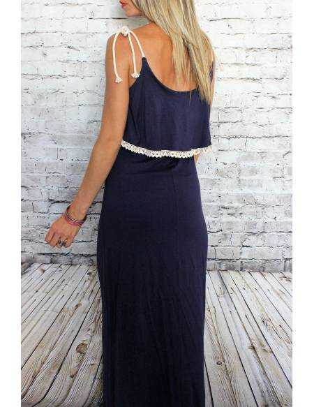 Robe longue bleue marine
