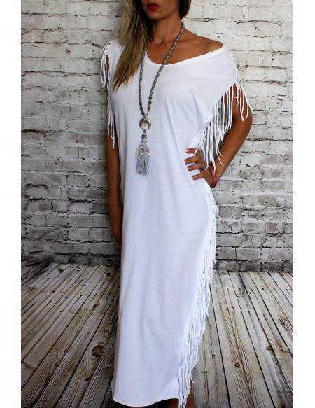 "Ma robe longue blanche ""jolies franges"""
