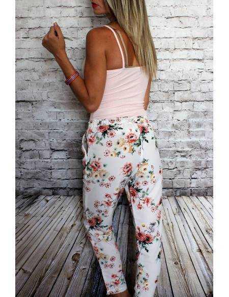 Pantalon léger blanc et rose