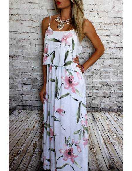 "Robe longue blanche volant ""jolies fleurs rose"""