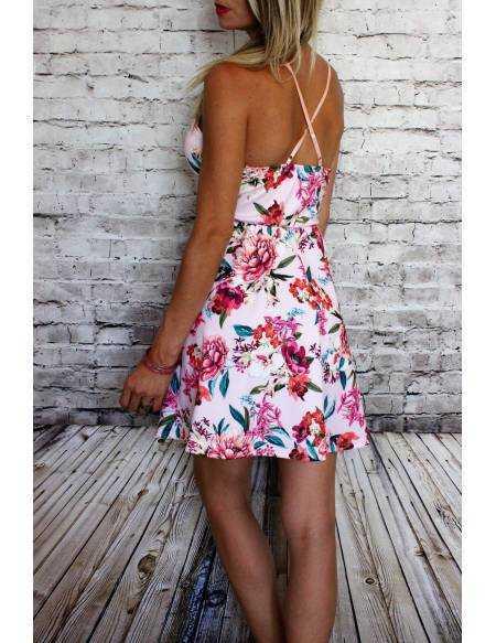 Ma petite robe rose fleurie et dentelle blanche