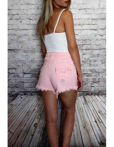 Short en jeans rose  taille haute