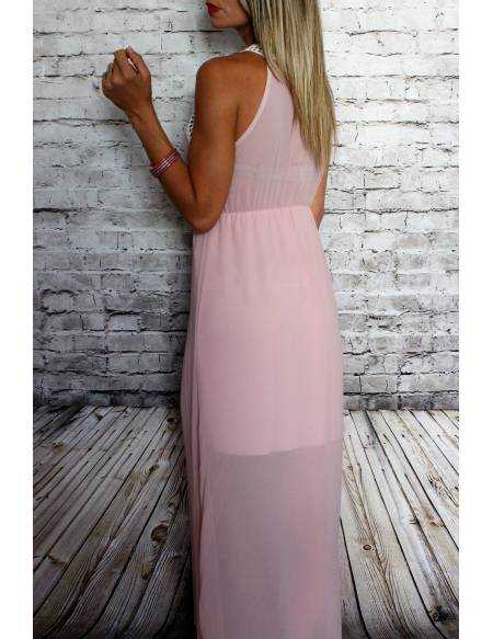 Ma jolie robe longue en voile rose pâle
