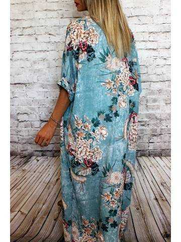 Gilet kimono long vert aqua et imprimé