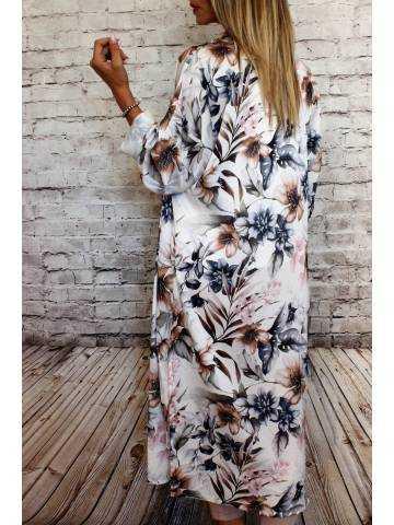 Gilet kimono long rose pastel et imprimé