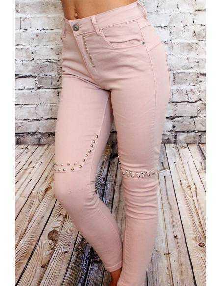"""Jeans rose pâle """"Clouté"""""""