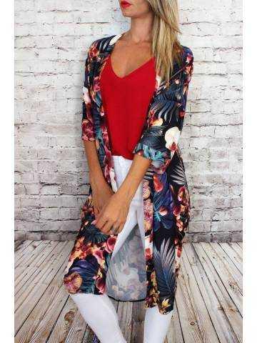 "Gilet kimono long blanc imprimé ""tropical"""
