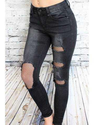 """Mon jeans noir """"So destroy et résille """""""