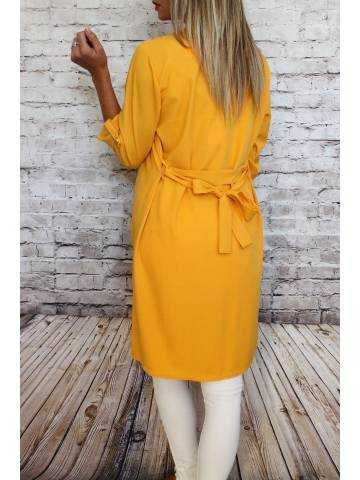 Gilet kimono long moutarde