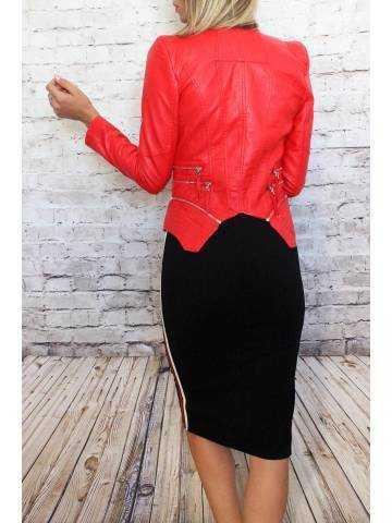 Veste rouge flamboyant style cuir