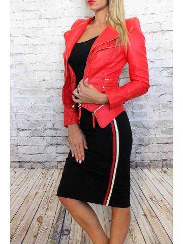 "Veste rouge flamboyant style cuir ""épaulée"""